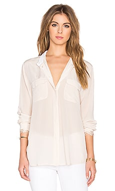custommade Zessa Silk Button Down Top in Crystal Grey
