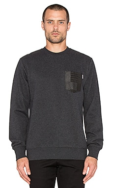 Carhartt WIP Eaton Pocket Sweatshirt in Black Heather & Black Patchwork Print