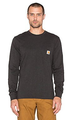 Carhartt WIP Long Sleeve Pocket Tee in Black Heather
