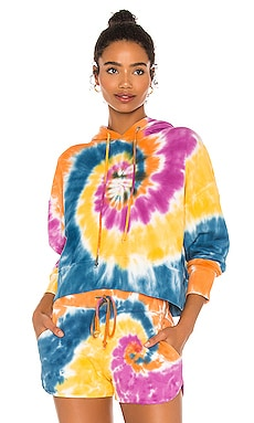 x REVOLVE Double Trouble Tie Dye Shrunken Hoodie DAYDREAMER $97 NEW