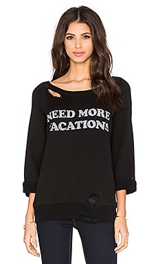 DAYDREAMER Need More Vacations Sweatshirt in Black