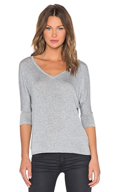 DAYDREAMER V Neck Dolman in Heather Grey