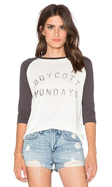 DAYDREAMER Boycott Mondays Tee in Cream & Black