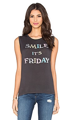Smile It's Friday Tank in Coal