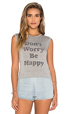 Don't Worry Be Happy Tank in Heather Grey