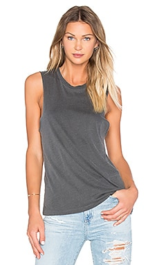 Basic Muscle Tank in Faded Black