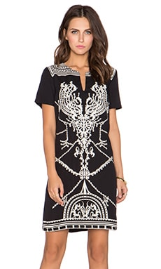 Deby Debo Aude Embroidered Shift Dress in Black & Cream