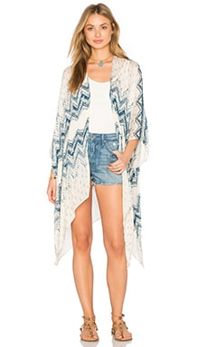 Arlo Poncho in Off White & Blue
