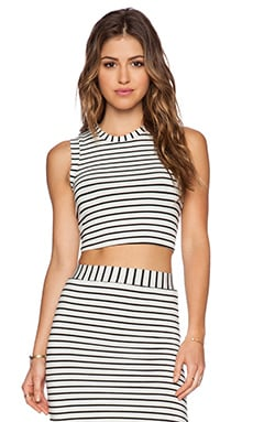 De Lacy Lucy Crop Tank in Black & White Stripe