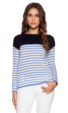 DemyLee Shay Pullover in Chambray & Navy Stripe