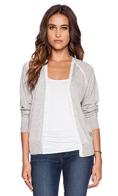 DemyLee Natalie Cardigan in Heather Grey & White