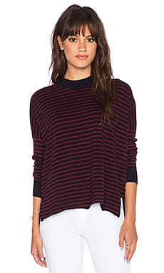 DemyLee Blair Stripe Sweater in Navy & Burgundy