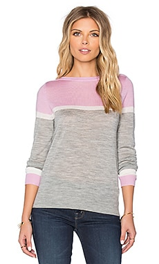 Cassandra Merino Sweater in Light Heather Grey, White & Pink
