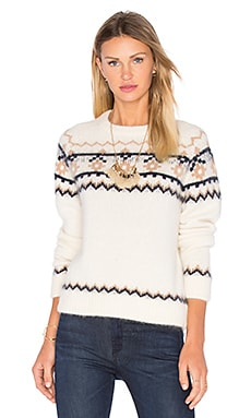 Daria Sweater en White, Navy & Tobacco