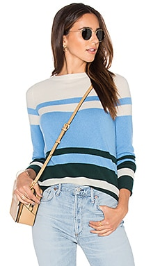 Lucille Stripe Sweater en Hunter Green, Sky & White