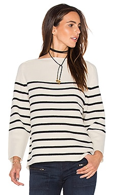 DemyLee Adia Stripe Sweater in Snowflake & Black
