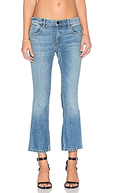 DENIM x ALEXANDER WANG Trap Cropped Bootcut Jeans in Light Indigo Aged