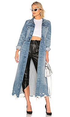 ee1defff6f8 DENIM x ALEXANDER WANG Fitted Trench Coat in Vintage Light Indigo ...