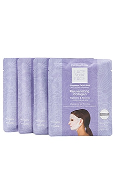 Rejuvenating Collagen Lace Your Face Mask 4 Pack Dermovia $55