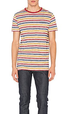 Deus Ex Machina Wei Stripe Tee in Washed Red