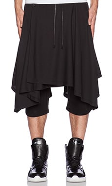 D. Gnak Wrap Skirted Shorts in Black