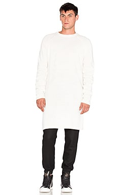 D. Gnak Long Front Knitted Pullover in Ivory