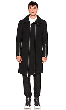 D. Gnak Two Zip High Neck Coat in Black Without Tribal