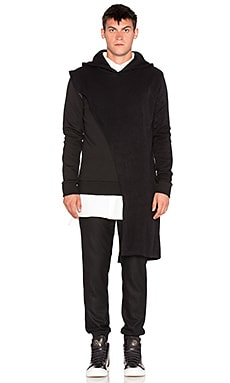D. Gnak Asymmetric Draped Hoodie in Black