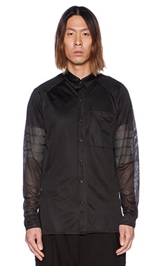 D. Gnak D by D Striped Sleeve Mesh Shirt in Black
