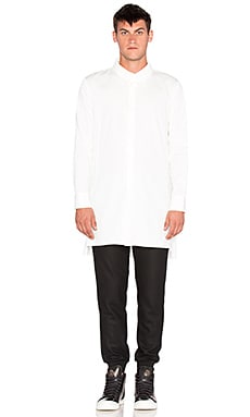 D. Gnak High Neck Side Zip Shirt in White