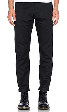 Dickies Construct Washed Straight Cut in Washed Black Selvedge
