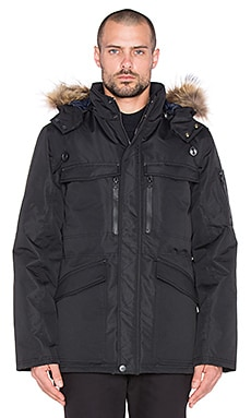 Dickies Construct Weatherproof Parka with Asiatic Raccoon Fur in Black