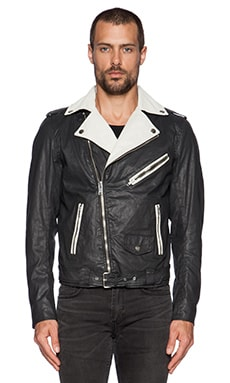 Diesel Sedbi Moto Jacket in Black Stripe