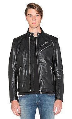 Diesel Oyton Leather Jacket in Black