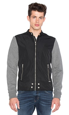 Diesel Ack Fleece & Nylon Jacket in Black