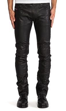 Diesel Thavar-Dest Leather Pant in Black