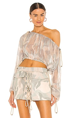 Camo Balloon Blouse Dion Lee $490