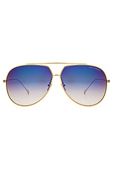 Condor Sunglasses in Gold, Dark Grey, & Blue Mirror