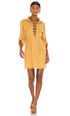 Lace Up Mini Safari Dress Divine Heritage $395 NEW
