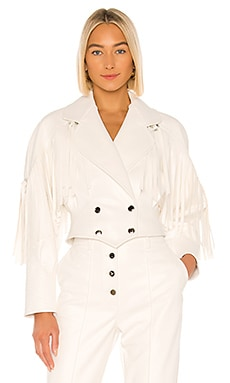 Vegan Leather Fringe Jacket Divine Heritage $435