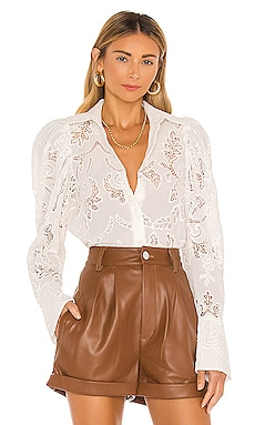 Pleated Sleeve Button Up Blouse Divine Heritage $395