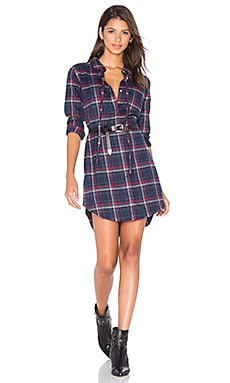 DL1961 Prince & Mott Button Up Dress in Navy & Burgundy