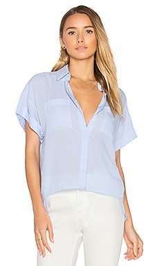 Bellport Loose Button Up in Blue & White Stripes