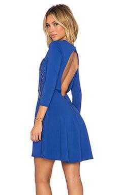 David Lerner x Chiqui Delgado Lace Inset Dress in Mediterranean Blue