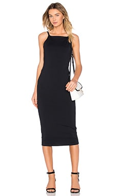 David Lerner Low Back Midi Dress in Classic Black