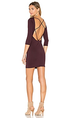 David Lerner Back Strappy 3/4 Sleeve Dress in Oxblood