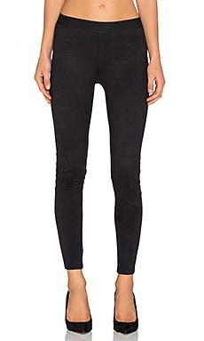 David Lerner Stitched Dart Micro Suede Legging in Classic Black