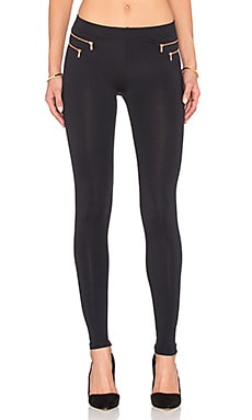 David Lerner Double Pocket Zip Legging in Classic Black