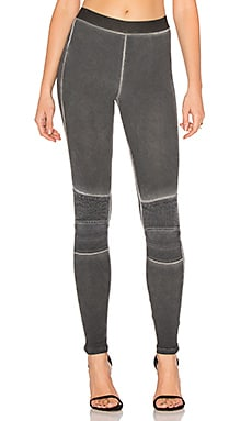 Stitch Moto Legging in Faded Black
