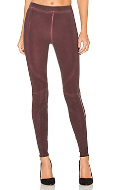 Pigment Dye Seamed Legging in Raisin